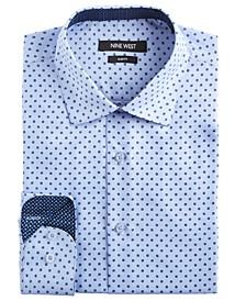 Men's Slim-Fit Wrinkle-Free Performance Stretch Light Blue Ground with Navy Print Dress Shirt