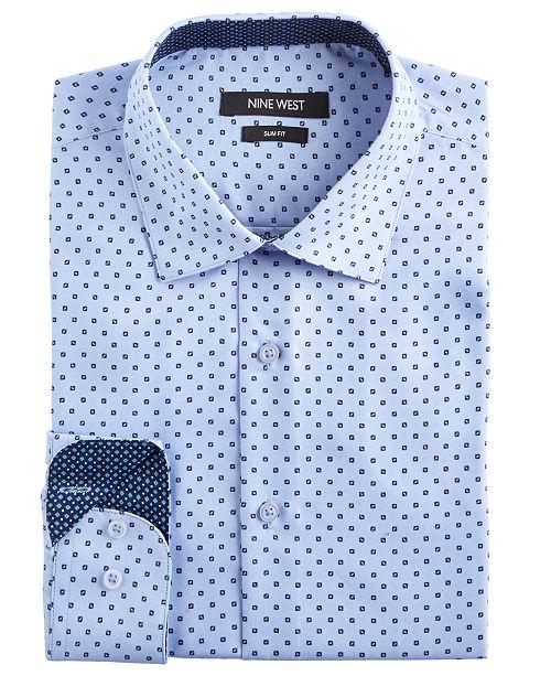 Nine West Men's Slim-Fit Wrinkle-Free Performance Stretch Light Blue Ground with Navy Print Dress Shirt