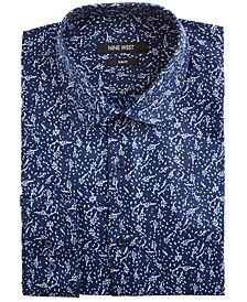 Men's Slim-Fit Wrinkle-Free Performance Stretch Navy & White Leaves Print Dress Shirt