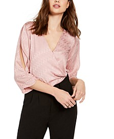 Juniors' Jacquard High-Low Surplice Top