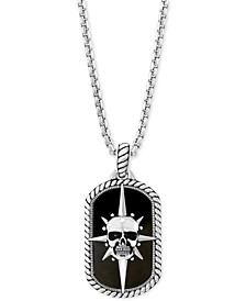 "EFFY® Men's Onyx (27 x 16mm) Skull Dog Tag 22"" Pendant Necklace in Sterling Silver"