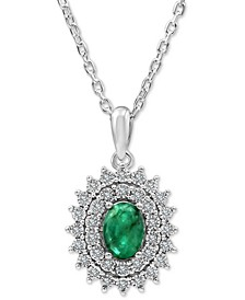 "Emerald (3/4 ct. t.w.) & Diamond (1/10 ct. t.w.) 18"" Pendant Necklace in Sterling Silver"