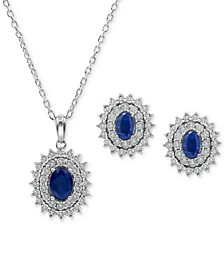 2-Pc. Set Sapphire (1-1/3 ct. t.w.) & Diamond (1/4 ct. t.w.) Pendant Necklace & Matching Stud Earrings in Sterling Silver