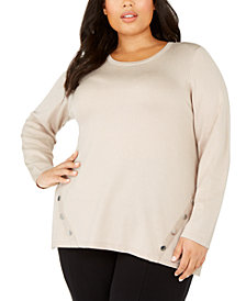 Alfani Plus Size Button-Hem Sweater, Created for Macy's