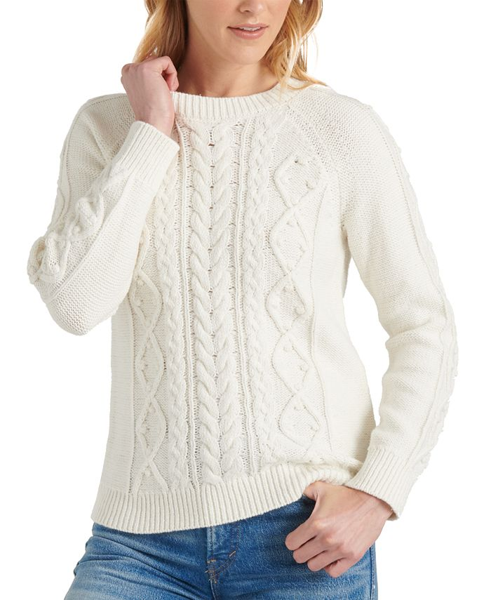 Lucky Brand - Crew-Neck Cable-Knit Sweater