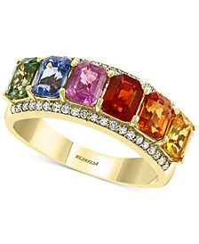 EFFY® Multi Sapphire (2-3/8 ct. t.w.) & Diamond (1/6 ct. t.w.) Statement Ring in 14k Gold
