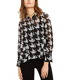 INC Petite Sheer Houndstooth Top, Created for Macy's