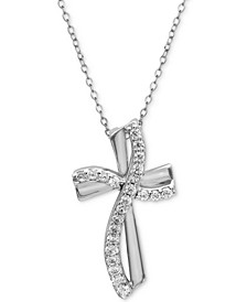 "Cubic Zirconia Cross Pendant Necklace in Sterling Silver, 16"" + 2"" extender, Created For Macy's"