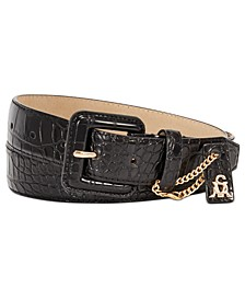 Croc-Embossed Buckle Belt With Charm