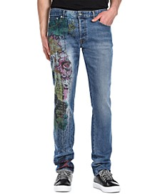 Men's Five-Pocket Graphic Jeans