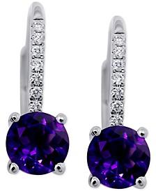 Amethyst (1-1/2 ct. t.w.) & Diamond (1/10 ct. t.w.) Drop Earrings in 14k White Gold