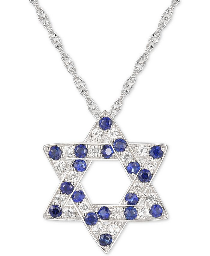 """Macy's - Lab-Created Blue Sapphire (3/8 ct. t.w.) & White Sapphire (1/3 ct. t.w.) Star of David 18"""" Pendant Necklace in Sterling Silver"""