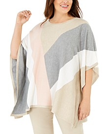 Plus Size Colorblocked Poncho Sweater