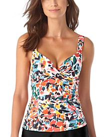 Sunset Floral Twist-Front Bra-Sized Underwire Tankini Top