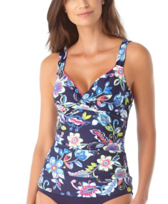 Holiday Paisley Twist-Front Underwire Tankini Top