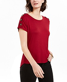 Petite Button-Sleeve Top