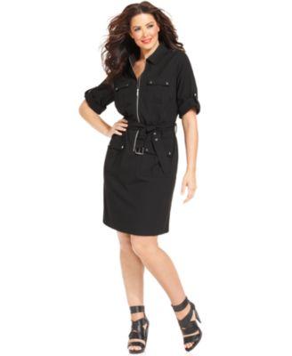 MICHAEL Michael Kors Plus Size Short-Sleeve Zip-Front Shirtdress