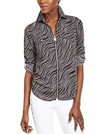 Chain-Print Zip Top, Regular & Petite Sizes