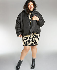 Celebrity Pink Trendy Plus Size Cropped Puffer Coat