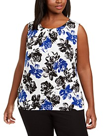 Plus Size Floral Pleat-Neck Top