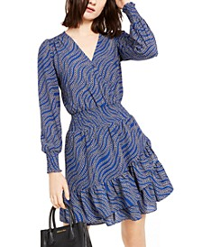 Printed Ruffled Wrap Dress, Regular & Petite Sizes