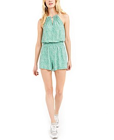 Animal-Print Studded Romper