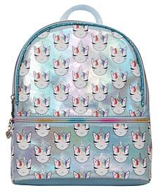 OMG Accessories Whimsical Unicorn Print Metallic Mini Backpack