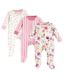 Baby Girl Organic Cotton Sleep and Play, 3-Pack