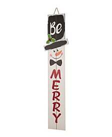 Wooden Snowman Porch Sign - Merry
