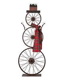 Metal Bike Wheel Snowman with Plaid Scarf Porch Decor KD