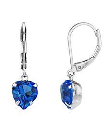 Silver-Tone Crystal Heart Drop Earrings