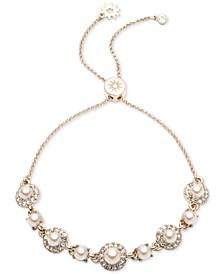 Gold-Tone Crystal & Imitation Pearl Slider Bracelet