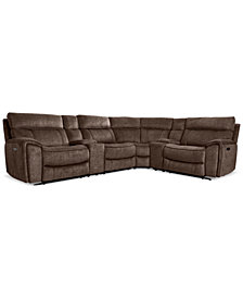 Hutchenson 6-Pc. Fabric Sectional with 3 Power Recliners, Power Headrests and 2 Consoles with USB