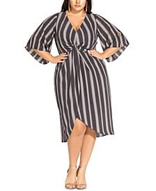 Trendy Plus Size Phonic Stripe Twist-Front Dress