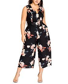 Trendy Plus Size Sencha Belted Floral-Print Jumpsuit