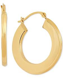 Small Flat Hoop Earrings in 10k Gold