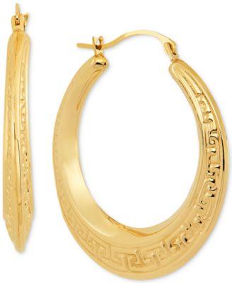 10K Yellow Gold Swirl Textured Graduated Round Hoop Earrings