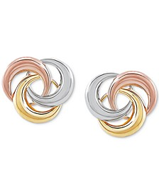 Tricolor Love Knot Stud Earrings in 10k Gold, White Gold & Rose Gold