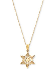 "Snowflake 18"" Pendant Necklace in 10k Gold"