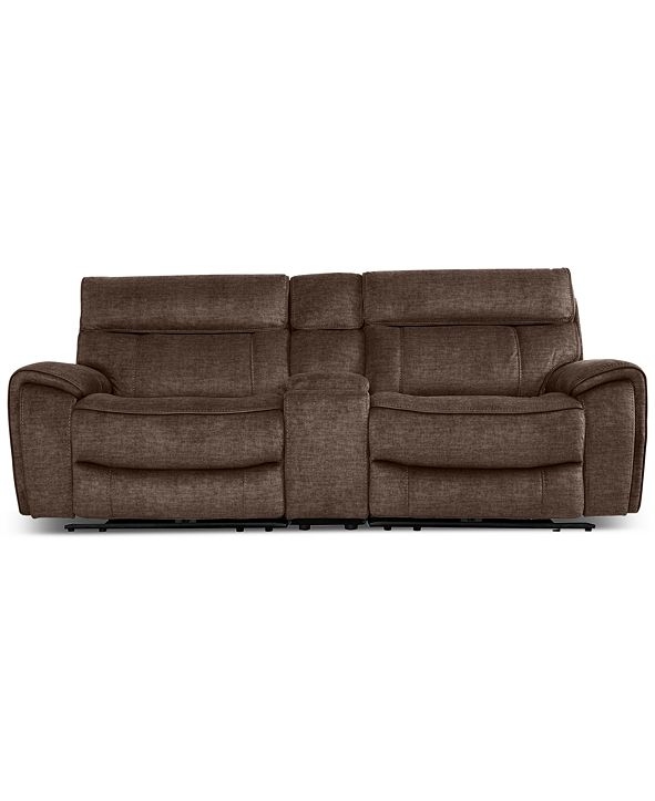 Furniture Hutchenson 3-Pc. Fabric Sectional with 2 Power Recliners, Power Headrests and Console