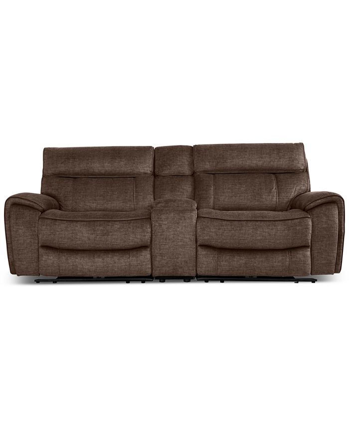 Furniture - Hutchenson 3-Pc. Fabric Sectional with 2 Power Recliners, Power Headrests and Console