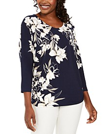 Printed Rhinestone Dolman-Sleeve Top, Created For Macy's