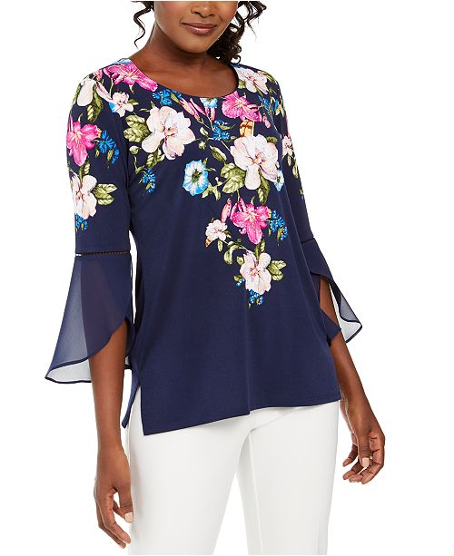 JM Collection Petite Floral-Print Bell-Sleeve Tunic, Created For Macy's