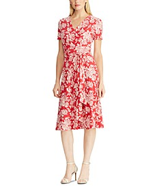 Belted Floral-Print Jersey Dress