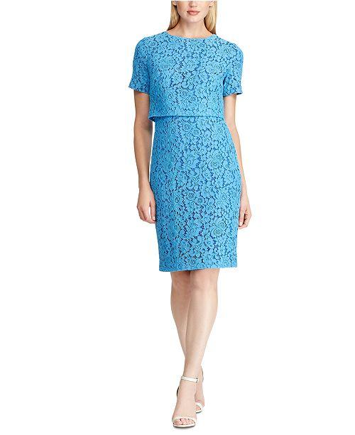 Lauren Ralph Lauren Floral Lace Popover Dress