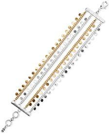 Two-Tone Mini-Disc Multi-Row Flex Bracelet