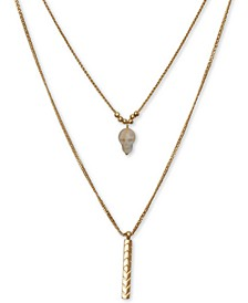 "Gold-Tone Stone Skull Layered Necklace, 18"" + 2"" extender"