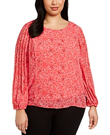 Plus Size Printed Pleated-Sleeve Top, Created For Macy's