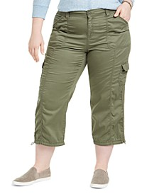 Plus Size Cotton Bungee Cargo Capri Pants, Created for Macy's