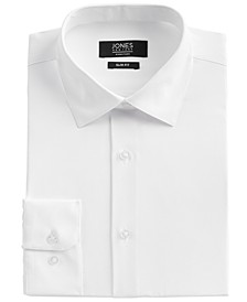 Men's Slim-Fit Performance 4-Way Stretch Tech White Solid Dress Shirt